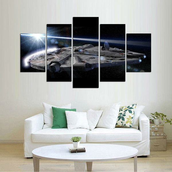 Star Wars Aircrafts | 5 Panel Canvas Wall Art Prints by Panel Wall Art