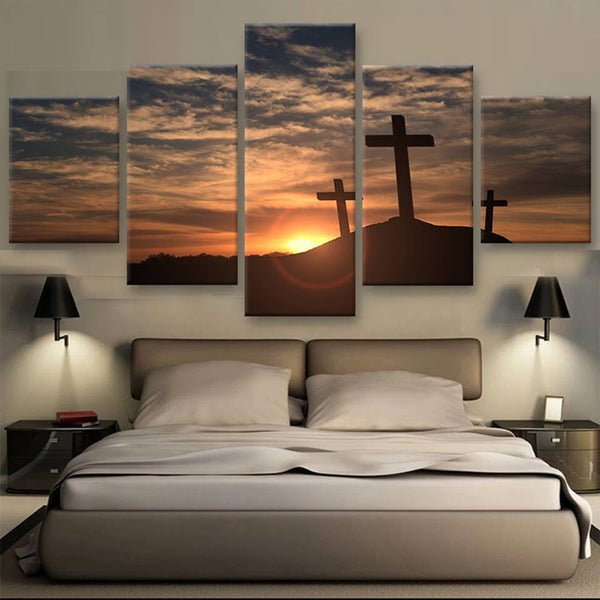 5 panel jesus and cross canvas wall art print by panelwallart.com