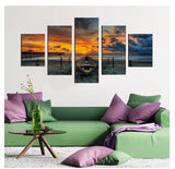 boat-on-the-beach 5 Pieces Canvas Wall Art by panelwallart.com Amazon Free Shipping
