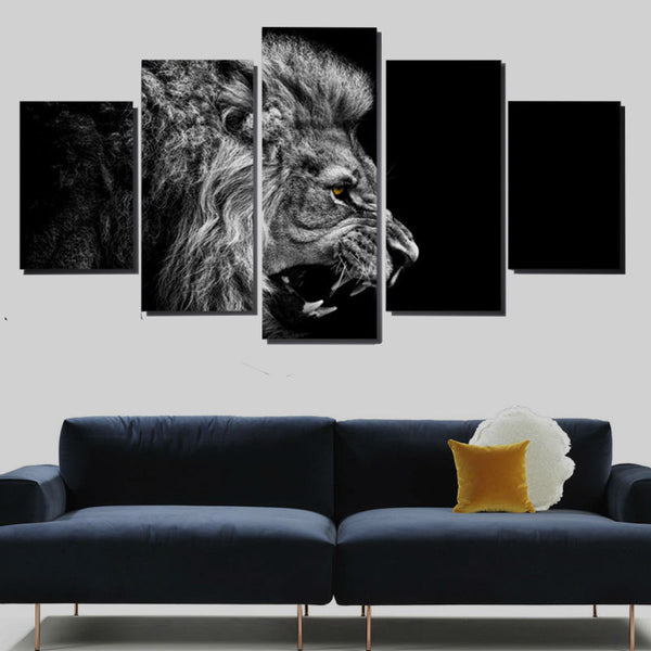 5 Panel Animals, Lions, Big Canvas Wall Art by panelwallart.com