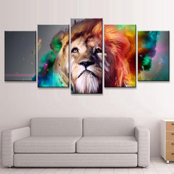 5 Panel Animals, Lions, Modern, Big Canvas Wall Art by panelwallart.com