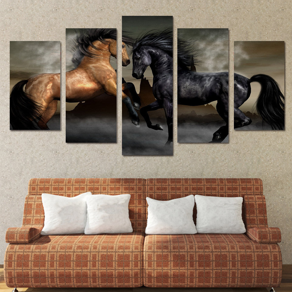 5 panel Brown and Black Horses Canvas Wall Art Prints by PanelWallArt.com