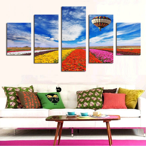 5 panel flowers natures canvas panel wall art by panelwallart.com picture with hot air balloon