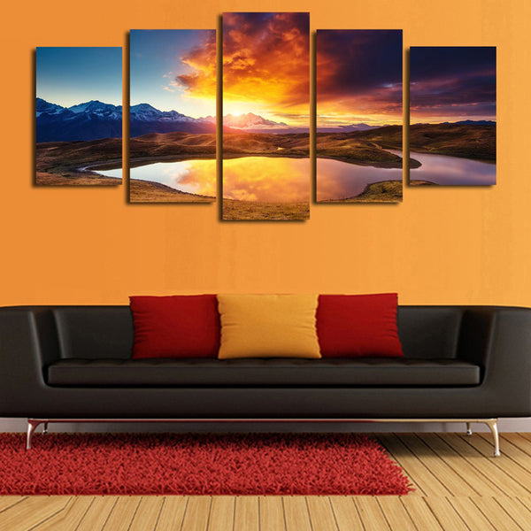 5 Panel Lake, Big, Landscape, Sunset Canvas Wall Art by panelwallart.com