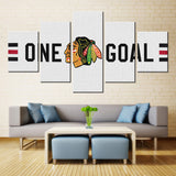 5 Panel Chicago Blackhawks Sports Team Logo Ice Hockey Sports Canvas Prints by www.PanelWallArt.com