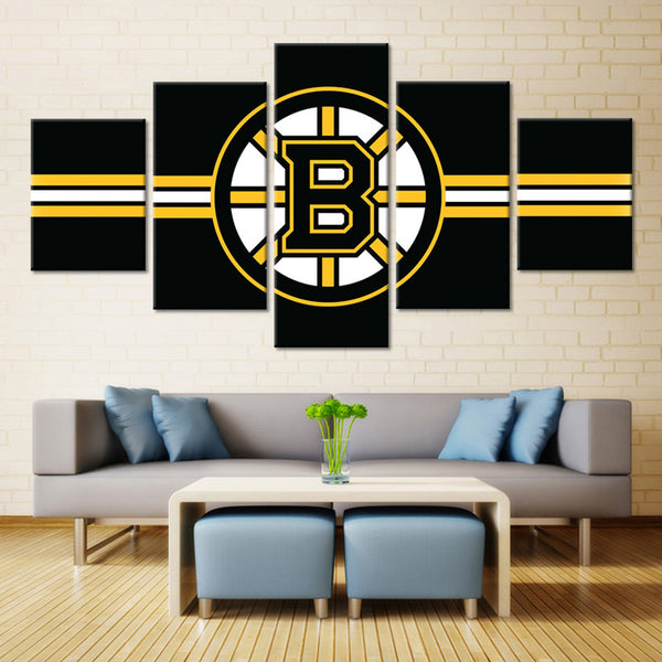 5 Panel Boston Bruins Boys  NHL Team (Black) Ice Hockey Sports Canvas Prints by www.PanelWallArt.com