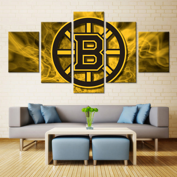 5 Panel Boston Bruins NHL Team Ice Hockey Sports Canvas Prints by www.PanelWallArt.com