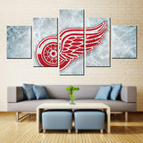 5 Panel Detroit Red Wings  NHL Team Ice Hockey Sports Canvas Prints by www.PanelWallArt.com
