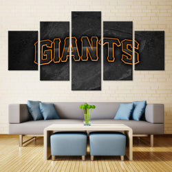 5 Panel  Black and Orange San Francisco Giants canvas wall art by panelwallart.com