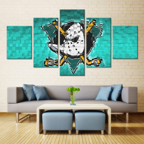 5 Panel Anaheim Ducks NHL Team (Mosaics) Ice Hockey Sports Canvas Prints by www.PanelWallArt.com