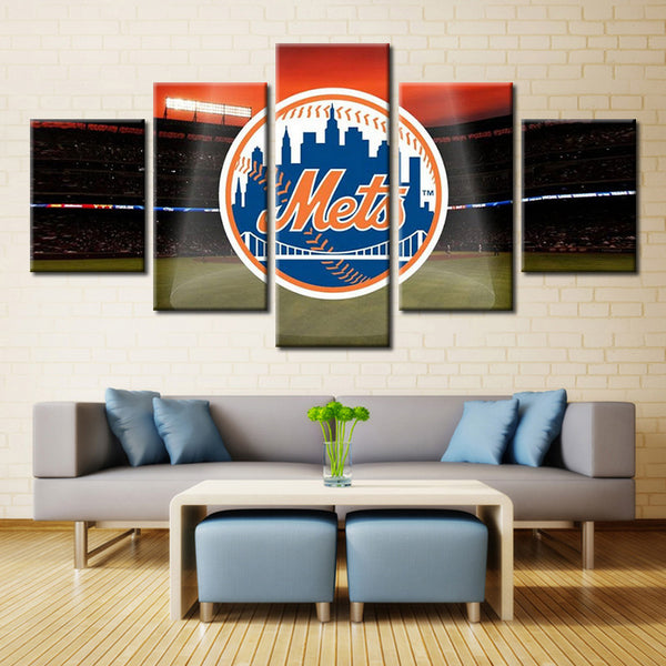 5 pieces new york mets canvas wall art by panelwallart.com