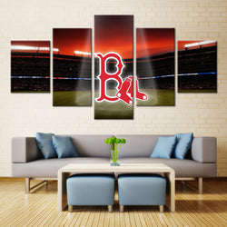 5 Panel  Boston Red Sox Baseball canvas wall art by panelwallart.com