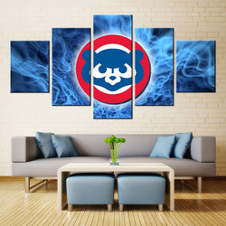 5 Panel  Chicago Cubs Logo canvas wall art by panelwallart.com