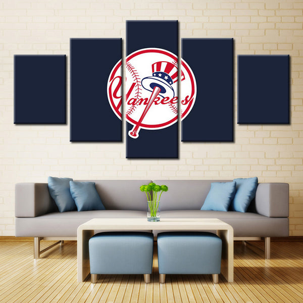 5 pieces new york yankees canvas wall art by panelwallart.com