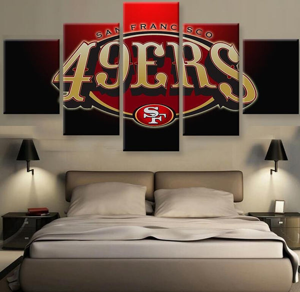 5 piece san francisco 49ers canvas wall art by panelwallart.com