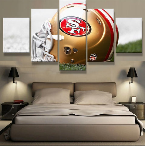 San Francisco 49ers Team | 5 Panel Canvas Wall Art Prints by Panel Wall Art