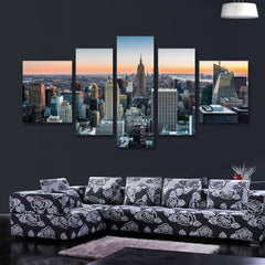 5 panel new york skyline landscape | Panelwallart.com