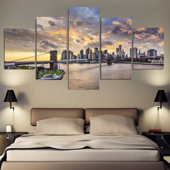 5 panel canvas wall art of brooklyn bridge