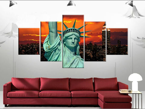 Statue of Liberty | 5 Panel Canvas Wall Art Prints by Panel Wall Art