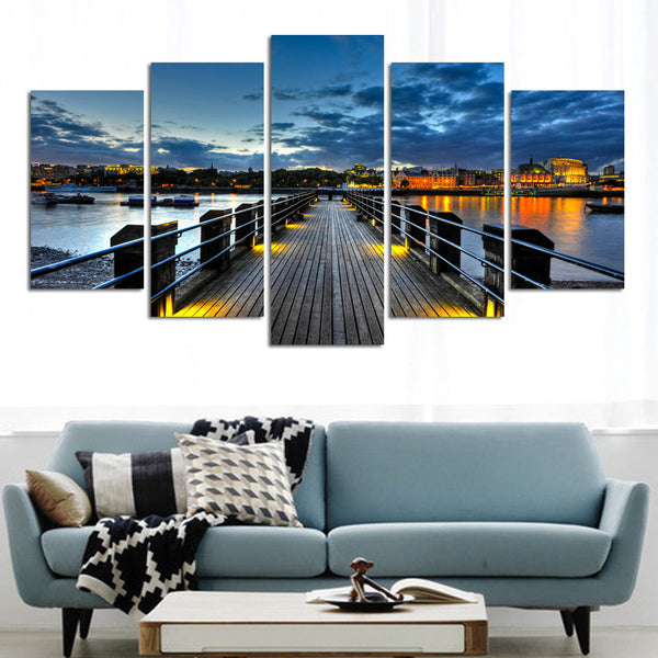 5 Panel Cityscape Sunset Bridge Canvas Set - PanelWallArt