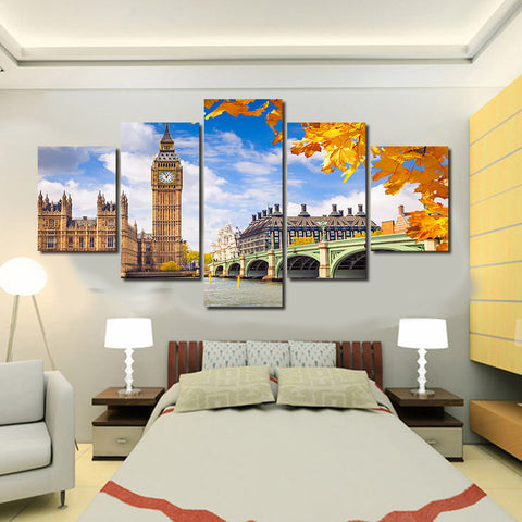 Landscape Building City of London | 5 Panel Canvas Wall Art Prints by Panel Wall Art
