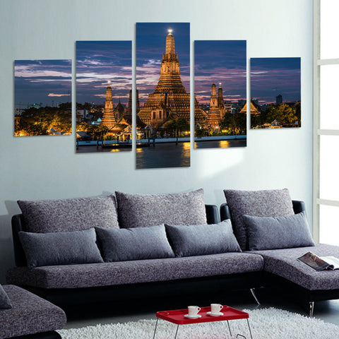 Modern City Life | 5 Panel Canvas Wall Art Prints by Panel Wall Art
