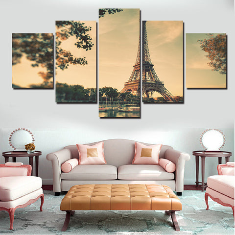 Eiffel Tower at Sunset Sky | 5 Panel Canvas Wall Art Prints by Panel Wall Art
