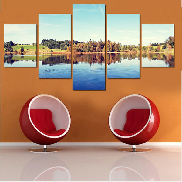 Lake view canvas 5 pieces by panelwallart.com
