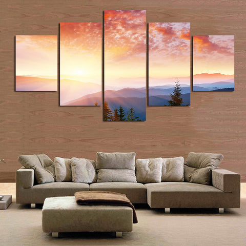 Landscape Sunrise | 5 Panel Canvas Wall Art Prints by Panel Wall Art