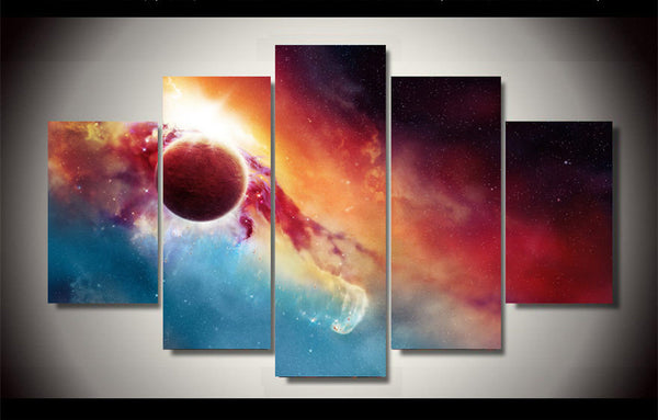 planet and earth 5 panel wall art canvas