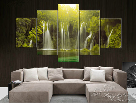 The Zen of Waterfall | 5 Panel Canvas Wall Art Prints by Panel Wall Art
