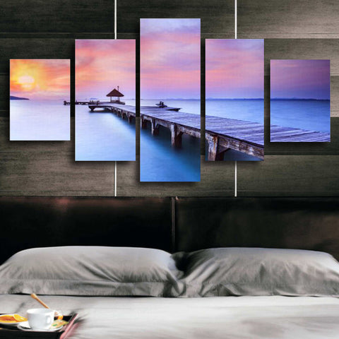 Sunset Seascape Blue Seawater | 5 Panel Canvas Wall Art Prints by Panel Wall Art