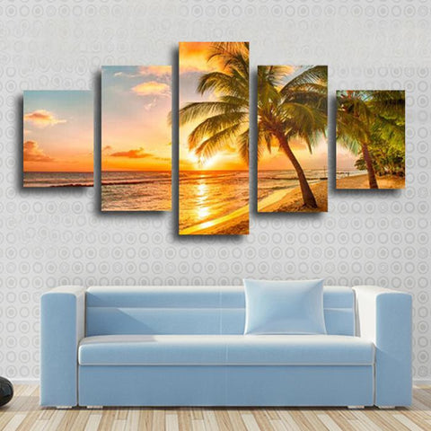 Sunset Seascape and the Coconut | 5 Panel Canvas Wall Art Prints by Panel Wall Art