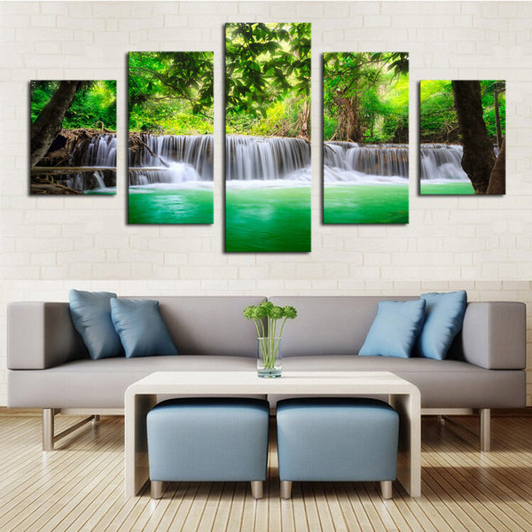 5 Panel Green Waterfall Scenery | Black Friday Cyber Monday Sale | Panel Wall Art Canvas