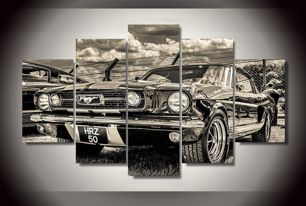 5 pieces vintage ford mustang canvas art