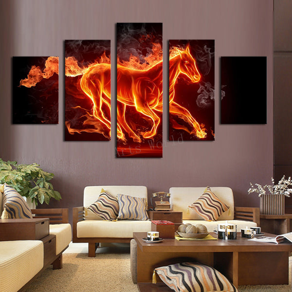 5 pcs Abstract Horse On Fire | Panelwallart.com