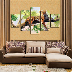 Dark Red Leopard On The Tree | Black Friday Cyber Monday Sale | Panel Wall Art Canvas