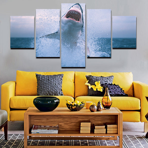 great white shark canvas panel wall art in 5 pieces