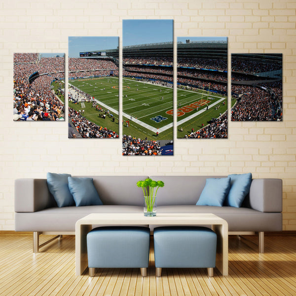 5 pieces football stadium canvas wall art by panelwallart.com