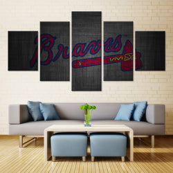 5 Panel  Atlanta Braves Baseball Team canvas wall art by panelwallart.com