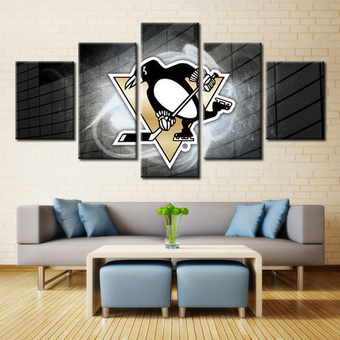 5 Panel Pittsburgh Penguins NHL Team (Bricks) Ice Hockey Sports Canvas Prints by www.PanelWallArt.com