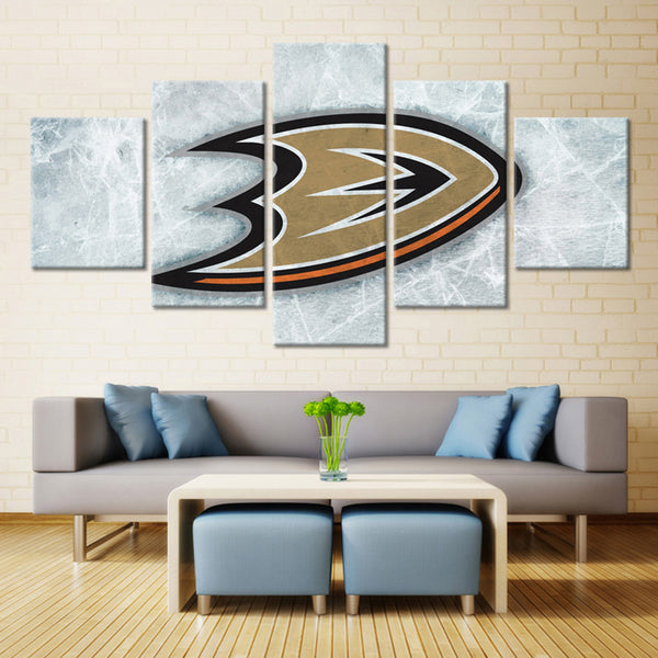 5 Panel Anaheim Ducks Team Logo on Ice Ice Hockey Sports Canvas Prints by www.PanelWallArt.com
