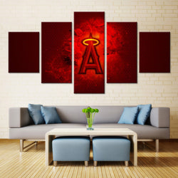 5 Panel  Los Angeles Angels Of Anaheim Baseball Club canvas wall art by panelwallart.com