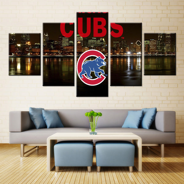 5 Panel  Chicago Cubs at Night canvas wall art by panelwallart.com