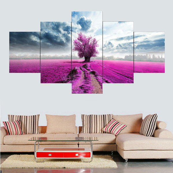 5 panel purple lavender flowers trees natures canvas panel wall art by panelwallart.com