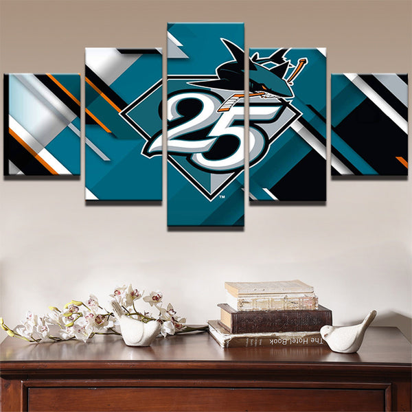 5 Panel San Jose Sharks NHL Team Ice Hockey Sports Canvas Prints by www.PanelWallArt.com