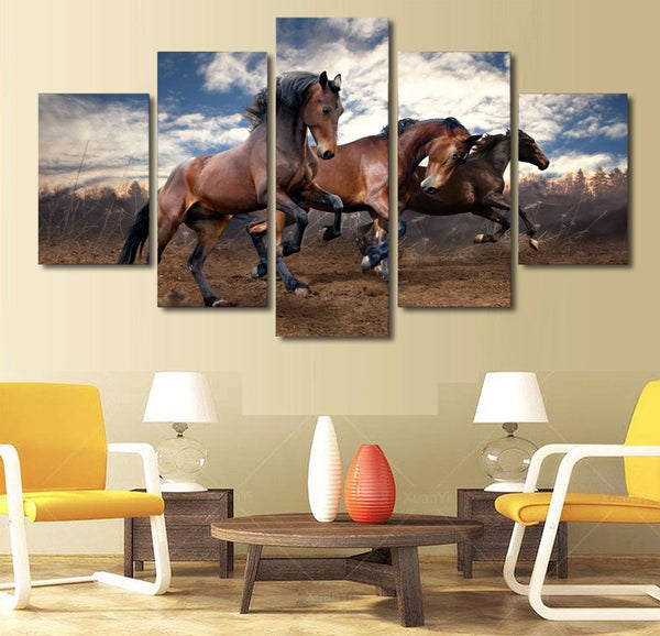 5 panel Three Brown Horses in the Field | PanelWallArt.com