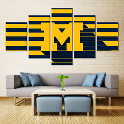 5 Panel  Michigan Wolverines Sports Team canvas wall art by panelwallart.com