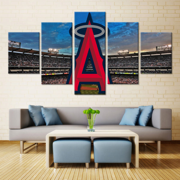 5 Panel  Los Angeles Angels Of Anaheim Stadium canvas wall art by panelwallart.com