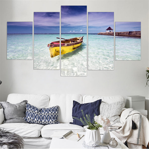 5 panel beach and boat canvas wall art print by panelwallart.com